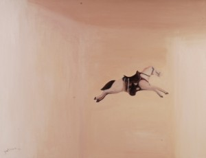 作者Gulistan古丽斯坦 作品名称《跨越》Crossing  年代:2006 材质 布面油画Oil on Canvas  尺寸:107x140cm